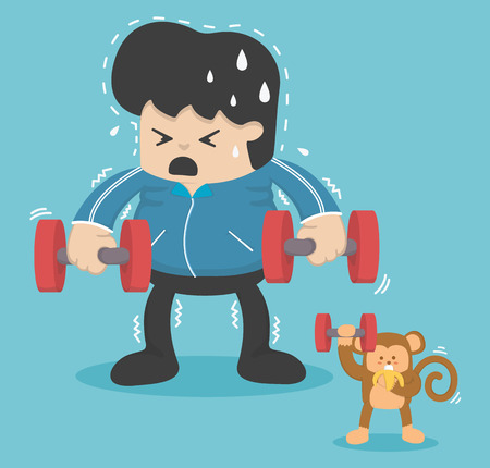 reducing: Cartoon exercise, Reducing weight by lifting a dumbbell