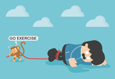 people force: Monkey force obese people to exercise, Exhaustion from exercise