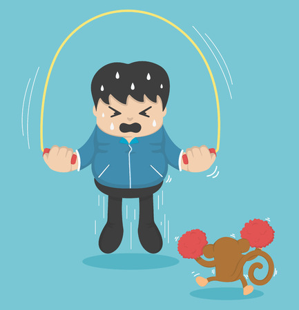 man jumping: man jumping on ropes Illustration