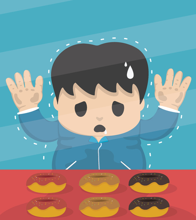 self control: Young dieting man Stand in sweet shop Illustration