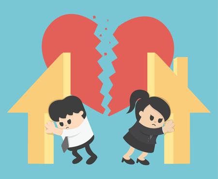 problemas familiares: Ilustración Relación divorcio, división de la propiedad