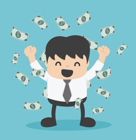 dinero: hombre de negocios con el montón de dinero en dólares