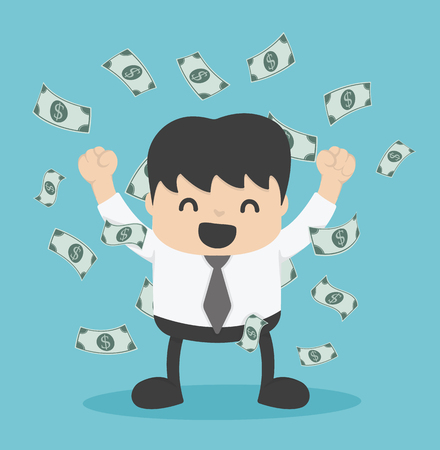 homme d'affaires avec tas d'argent en dollars Illustration