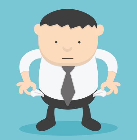 penniless: Businessman no money,vector illustration,Overweight businessman Illustration
