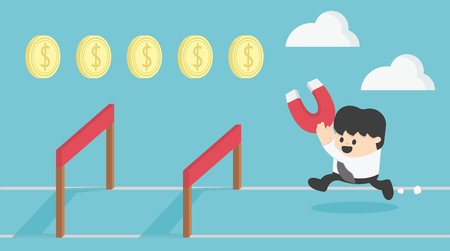 Concept Businessman Running Jumping Over Hurdle Collect money.Cartoon illustration.