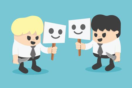 hypocrite: Businessman Hiding Behind Mask. concept cartoon illustration.
