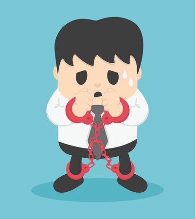 zakenman vergrendeld met kettingen Stock Illustratie