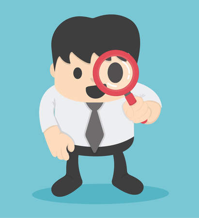 zoom: Businessman looking through a magnifying glass