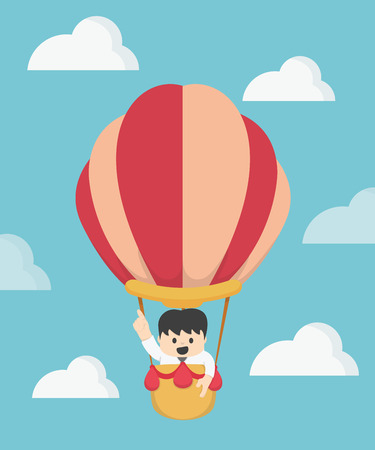 financial adviser: Businessman in hot air Big Idea. balloon competition concept Illustration