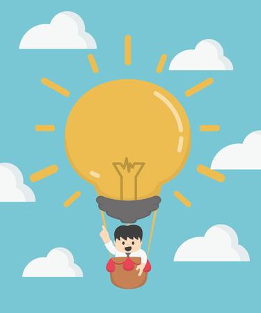 gaze: Businessman in hot air Big Idea. Business competition concept