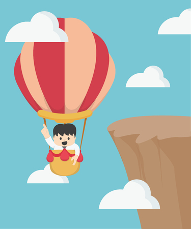 discretion: Businessman in hot air balloon fly