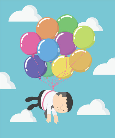 beautiful sky: Businessman fly on balloons clouds with beautiful blue sky