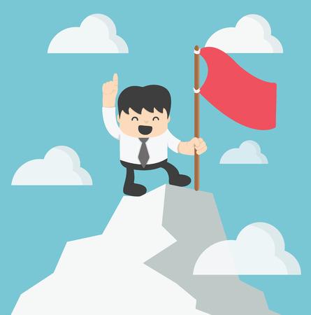 irony: Businessman Climbing atop Peak