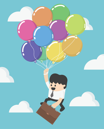 high up: Businessman fly up away high on balloon. Young successful businessman flies on colorful balloon