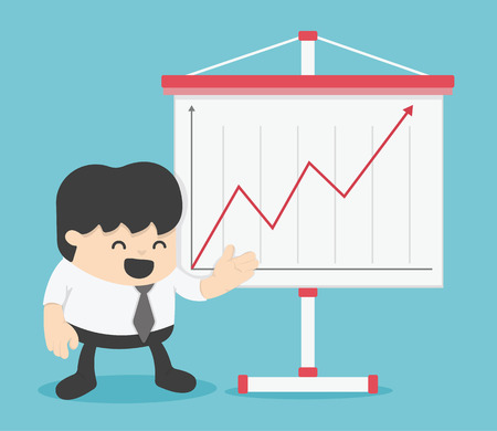 attainment: Businessman and  Presenting Business Growth Chart Illustration