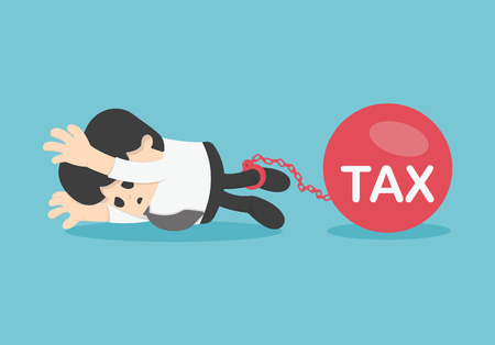 worried executive: Sad businessman from tax for tax concept