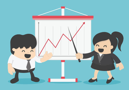 persuade: Businessman and Businesswoman Presenting Business Growth Chart