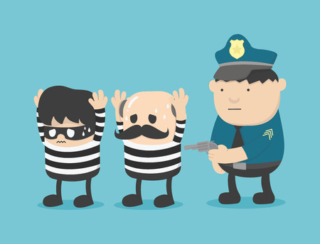 being arrested: Two robbers arrested by police Illustration