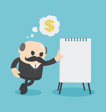 financial plan: Businessman showing financial plan