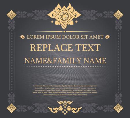 certificato vintage stile tailandese e spazio per il testo. Può essere usato come biglietto di auguri, invito, menu, altro Vettoriali