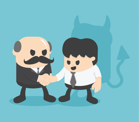 swindler: Businessman shaking hands with colleagues And an invisible threat Illustration