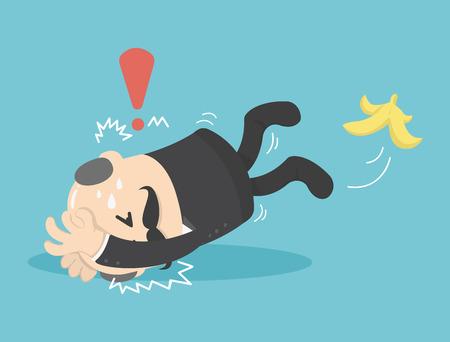 estilo del hombre de negocios resbalar en una cáscara de plátano Ilustración de vector
