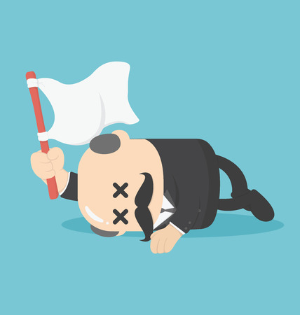 surrendering: Concept businessman lying down on the floor and surrender Illustration