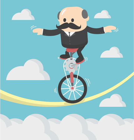 balancing: Businessman cycling balancing on a rope Illustration