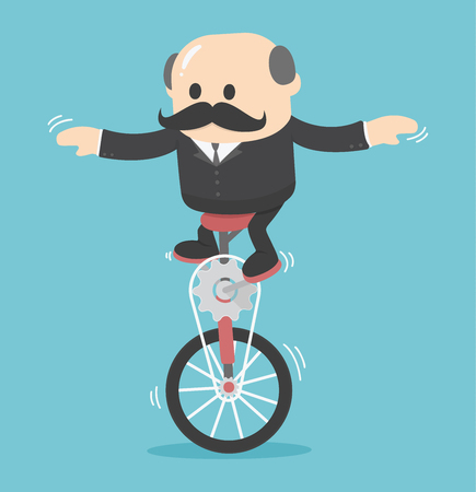one wheel bike: businessman on One wheel bike Illustration