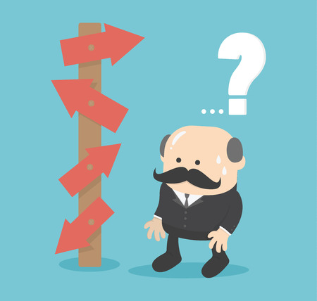 choice concept: Business man choice concept illustration