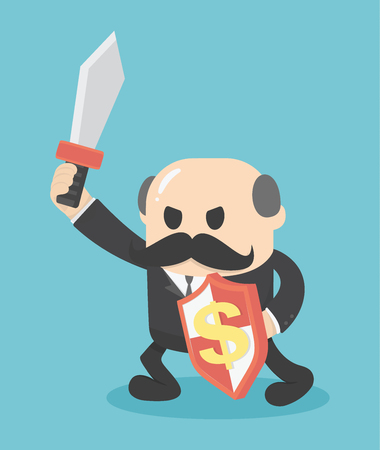 sword fight: Concept Businessman holding a sword fight Illustration