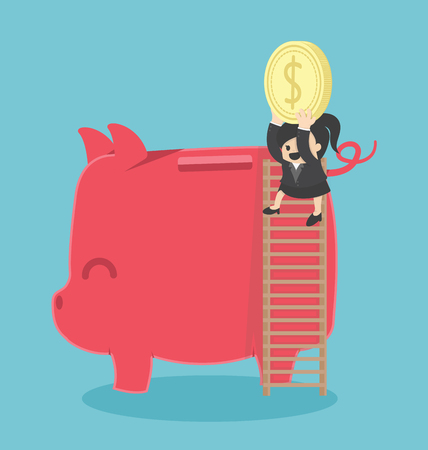 big woman: young business woman saving her money by putting a coin in a big piggy bank