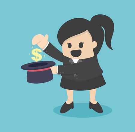 magus: businesswoman money  in cylinder Illustration