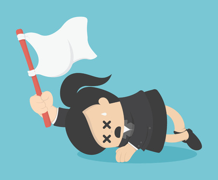 woman lying down: Business woman holds white flag of surrender.