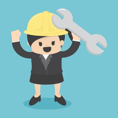 solarcell: Business Woman engineer, architect and construction workers Cool flat design construction Illustration