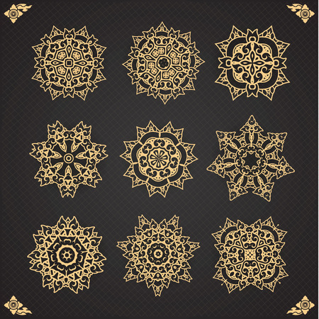 thai motifs: Design elements graphic Thai design isolated on seamless background. Vintage decorative elements. Hand drawn seamless pattern. Islam, Arabic, Indian, ottoman motifs.