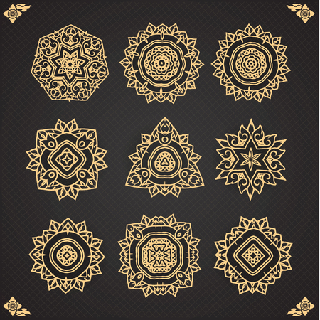 thai motifs: Design elements graphic Thai design isolated on seamless background. Vintage decorative elements.  seamless pattern. Islam, Arabic, Indian, ottoman motifs.