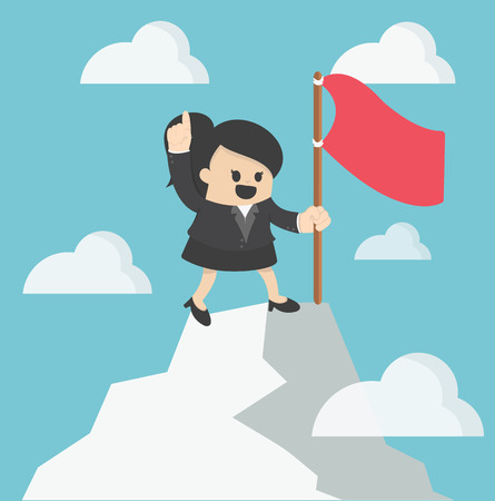 intent: Woman flag on th to the mountain top. Reaching the goal concept illustration