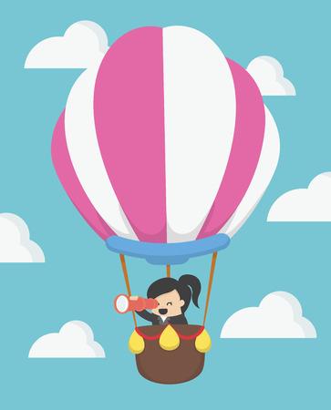 businesswoman in hot air balloon