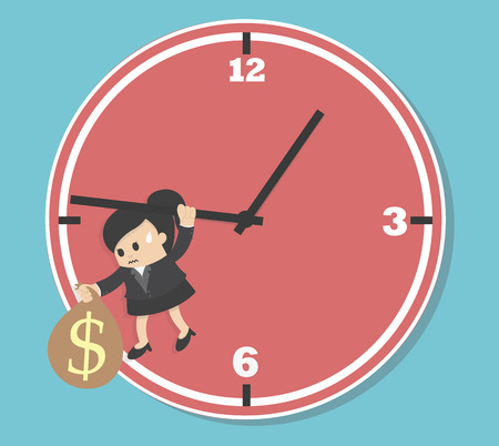worried executive: Business woman  Worried executive running against on an arrow of clock