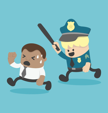 offense: Young African businessman Being persecuted by police or Offense Illustration
