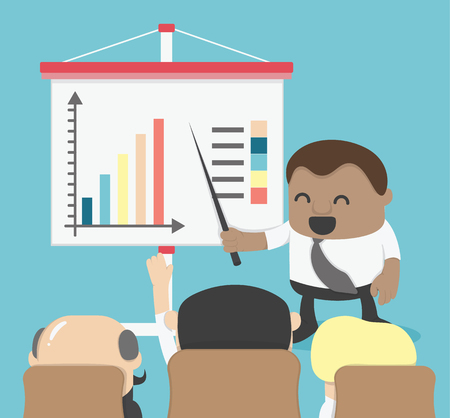 board meeting: African Businessman presented to the Board meeting or presentation in an meeting room Illustration