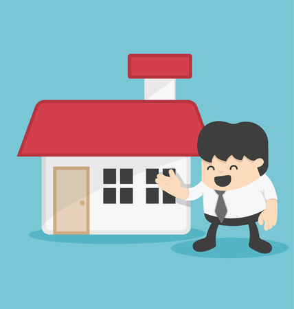 business loans: Concept illustration business offering home loans or house for rent vector illustration. Illustration