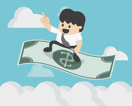 Successful Businessman sitting on the flying dollar magic carpet to on sky