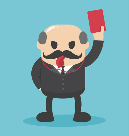 misconduct: Concept Bald businessman hand showing red card