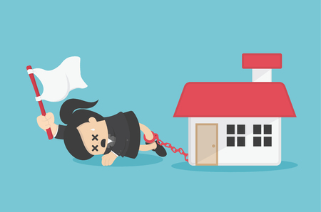 business woman has debts to worry about going home  existing debt. 向量圖像