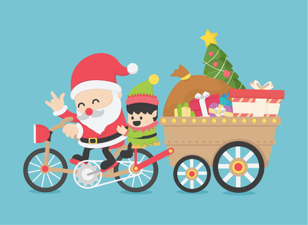 Christmas Santa Claus, driving a bike ,have Elves go together on new year's day