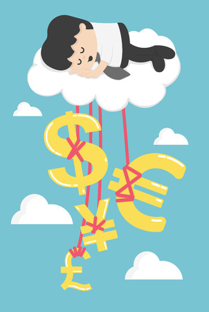 clouding: Happy Businessman on a Cloud thinking money and successful