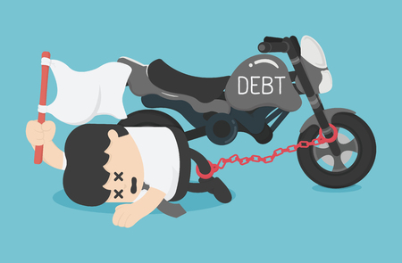 Cartoon Character Business chained on ankle the debt of a motorcycle