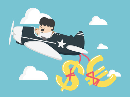 Concept businessman flying a plane have money, dollar and  euro